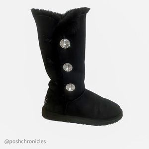 UGG EXCLUSIVE BAILEY BLING BLACK TRIPLET BOOTS